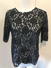 NEW McQ Alexander McQueen Women's Sz M 42 EU Black Sheer Lace Blouse Shirt Top
