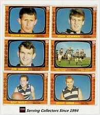 RARE-1967 Scanlens VFL Trading Card Full Team Set Geelong (6)--EXCELLENT