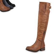 Damen Reiterstiefel Leicht Gefütterte Stiefel Leder-Optik Boots 820057 Top