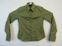 Apostrophe Stretch Womens shirt size 10 Green French Cuffs Button Front