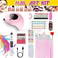 UV LED Lamp Dryer Nail Gel Polish Kit Nails Art Tools Drill Manicure Set US