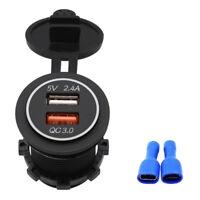 Dual USB Charger Socket Adapter Power Outlet for 12V-24V Car Motorcycle Boat Hot
