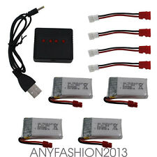 3.7V 500mAh Lipo Battery 4pcs with 4in1 USB Charger for Syma X5HW X5HC Drone CA