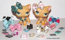💞Littlest pet shop accessories Lps clothes 1bow 1collar 1phone Cat Not Included