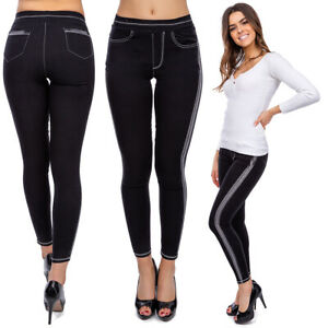Women's High Waisted Stripe Leggings Stretchy Slimming Pockets Imitation FS8901