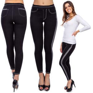 Women's High Waisted Stripe Leggings Stretchy Slimming Pockets Imitation FS8901