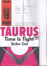 "Taurus, Time is tight, Promo Info, VG+/VG++ 7"" Single 0890-8"