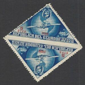 Ecuador UNISSUED 1939 Columbus 5c IMPERF BETWEEN pair MNH