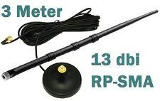 3m RP-SMA Verlängerungskabel + 13dbi Antenne Magnet-Standfuss WLAN WiFi 3 Meter