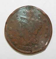 1843 Braided Hair Large Cent 1¢ Circulated