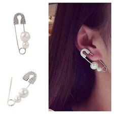 1PC Cool Pin Jewelry Safety Rhinestone Pearls Brooch Earring Ear Stud