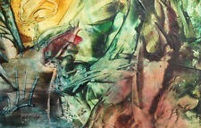 1995 ABSTRACT ENCAUSTIC PAINTING LANDSCAPE SIGNED