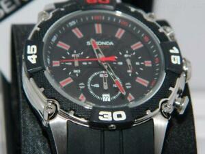 Sekonda Men's 100m Black dial date Chronograph watch, 24 hour dial,Silicon Strap