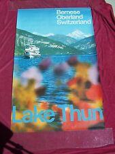 "Orig. Travel & sports 1970 poster  BERNESE-OBERLAND-SWITZERLAND, ""LAKE THUN"""