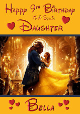 Beauty and the Beast A5 Personalised Birthday card daughter sister niece name