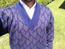 VALENTINO Mens  V Neck classic 100% Wool PURPLE/BLUE Sweater VINTAGE $ 299.00