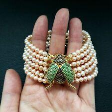 "CZ Beetle Pink freshwater Pearl 8"" 6 Strands Bracelet"