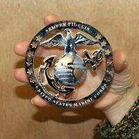 "USMC OFFICER EGA ROUND EMBLEM MAGNET INSIGNIA 4""x4"" MARINE CORPS SEMPER FI"