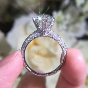 2.69 TCW Round Cut Moissanite Dainty Engagement Ring In 14k White Gold Plated