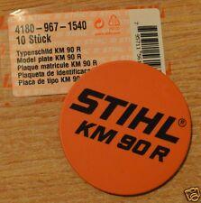 Genuine STIHL KM90R Modelo Placa Placa 4180 967 1540 seguimiento post