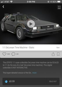 Back to the Future DeLorean Rare #25000 VeVe NFT 3D Digital Collectible Sold Out