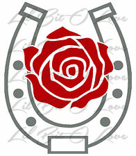 HORSESHOE WITH ROSE VINYL DECAL STICKER CAR AUTO RACER RACE EQUESTRIAN