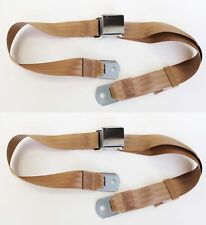 NEW! Sunbeam Tiger Alpine MG Mustang Seat Belts Set of 2 Chrome Parchment TAN