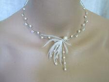 Collier couleur Ivoire/Cristal plume p robe de Mariée/Mariage, perles de verre
