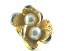Faux Pearls 14kt HGE Ring Vintage Jewelry