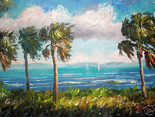 Seascape ORIGINAL OIL Painting PALM TREES Palette knife GENUINE MAZZ ART 11 x14""