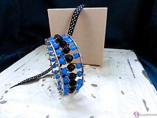 SARA BLAINE Indigo Bangle ~ Triple-Row Blue & Black Agates ~ S/M