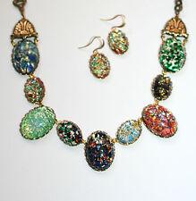 Artisan vintage Czech foiled art glass opal specimen dragons breath necklace set