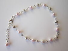 Silver Ankle bracelet - Pale Pink pearl & filigree beads 9.5 inch & extender