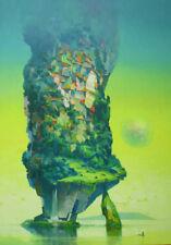 "NUOVA incredibile vitoldo laisonas tela ORIGINALE ""Attesa"" surrealista dipinto ad olio"