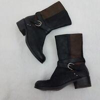 UGG Boots 7 Booties Lula Mae Brown Leather Weave Black Mid Calf Moto Biker Block