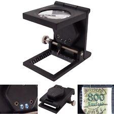 Metall Fadenzähler Lupe 10x Vergrößerung LED Juwelier Briefmarken Münzen Skala