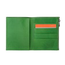 DuDu Portafoglio uomo Verticale Sottile Vera Pelle Verde con Zip porta carte