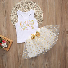Kid Baby Girl Birthday Outfit Top T-shirt Party Skirt Princess Dress Set Clothes