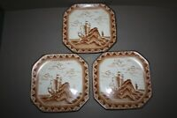 LOT OF 3 VINTAGE SQUARE BROWN TRANSFERWARE NAUTICAL PILGRIM CLIPPER SHIP PLATES