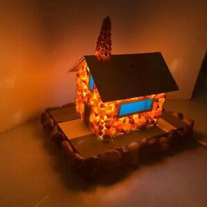 Folk Art - Hand Made Stone House - Lamp or Nightlight