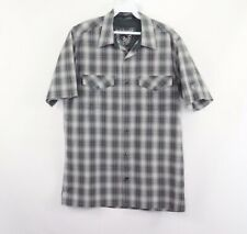 Kuhl Mountain Mens Small Pearl Snap Button Outdoor Hiking Camp Shirt Gray Plaid