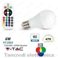Lampadina led V-TAC 6W E27 RGB + bianco naturale 4000K VT-2022 A60 telecomando