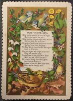 Victorian New Year's Card ~ Birds & Flowers~New Year's Eve Poem Embossed Border
