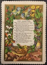 victorian new years card birds flowersnew years eve poem embossed border