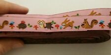 "One Metre Pink Woodland Rabbit Jacquard Ribbon Trim 5/8""16mm 100% Polyester"