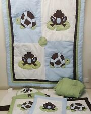 Pam Grace Bedding Set Frog Turtle 8 Pc Blanket Wall Hanging Sheet Diaper Stacker