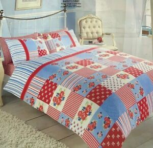 Super Soft Patchwork Red Duvet Cover Set Single Size With Pillowcase