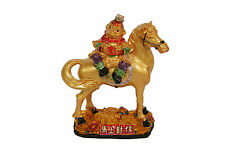 Feng Shui Golden Monkey On Horse Statue Figurine B For Career Advancement