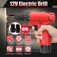 2X Li-Ion Battery 12V LED Cordless Drill Electric Driver 18-Speed Screw Tool Set