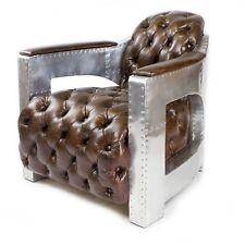 aicrcraft design rétro Fauteuil en cuir véritable club marron 456